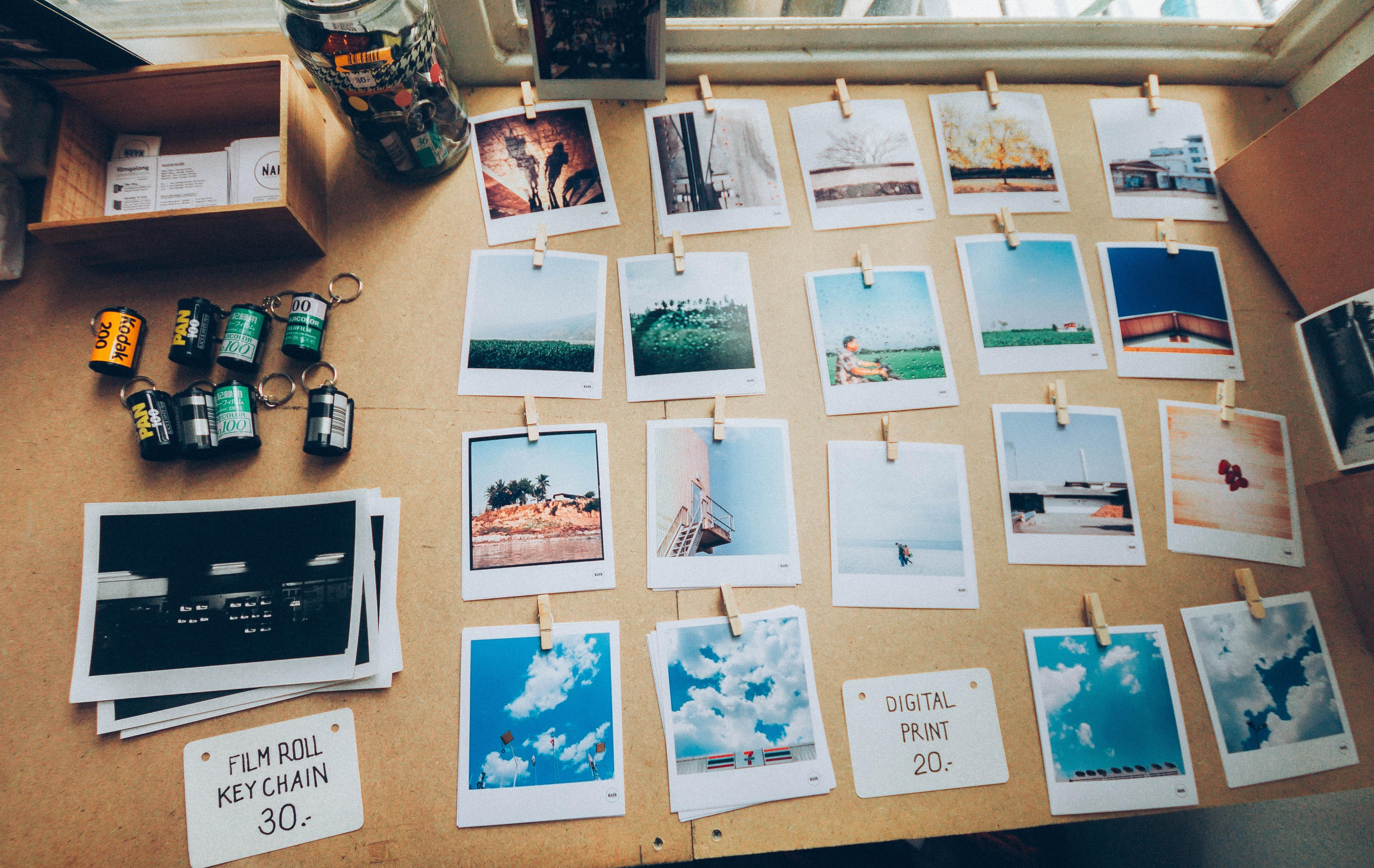 photograph gallery on tabletop